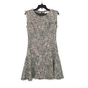{Rebecca Taylor} Frayed Flare Tweed Dress